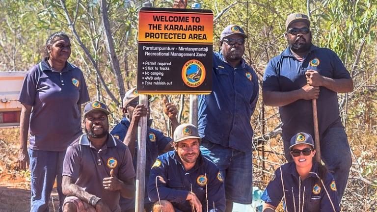 Karajarri rangers proudly display their work near Bidyadanga community in the Kimberley.