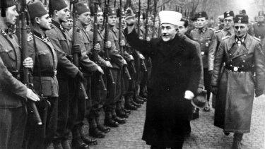 Haj Amin al-Husseini greeting SS volunteers in Bosnia in 1943.
