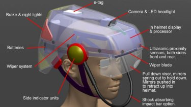 How it might work: everything from an e-tag to visor wipers.