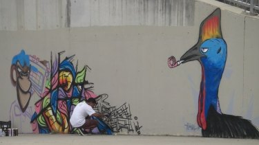 A street art masterpiece of a cassowary, since obliterated by TAMS.
