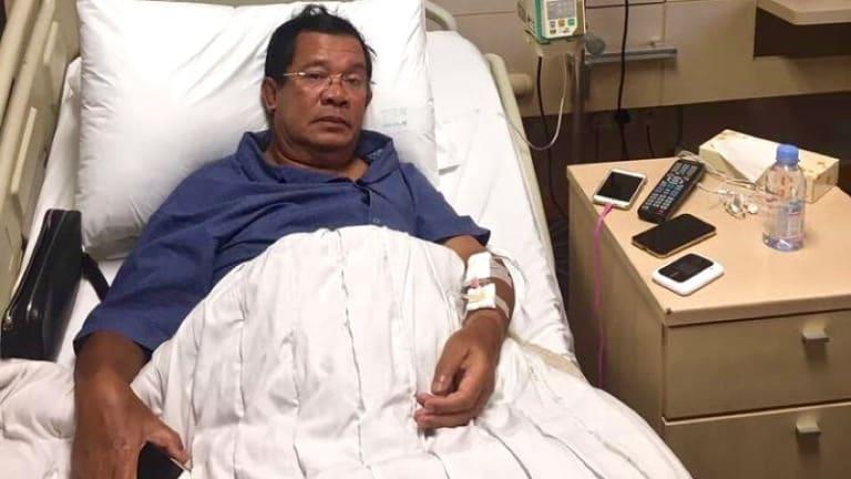 Hun Sen in hospital in Singapore in May.
