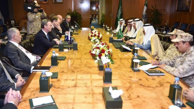 Christopher Pyne and a delegation of Australian defence firms meet high-ranking Saudi officials headed by National Guard Minister Prince Mutaib bin Abdullah in Riyadh in December 2016.