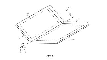 An image from the patent application shows a folding iPhone.