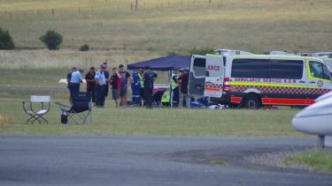 A 14-year-old boy is treated after being injured in a skydiving accident at Goulburn airport.