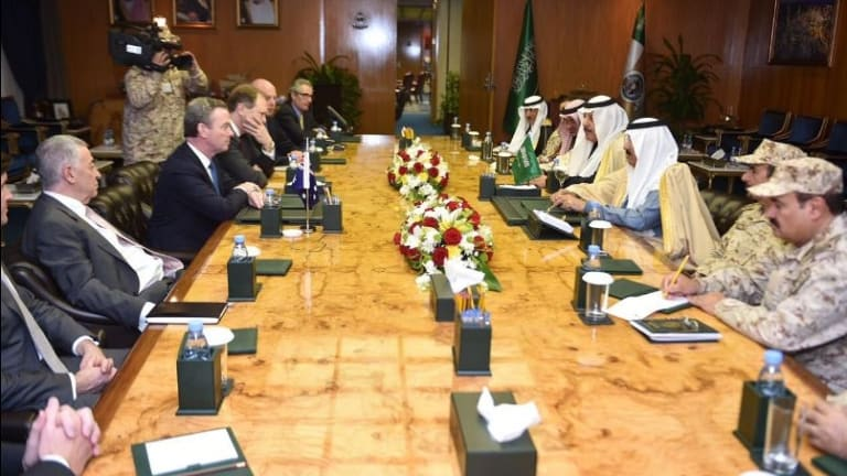 Christopher Pyne led a delegation of Australian defence firms to meet with high-ranking Saudi Arabian officials.