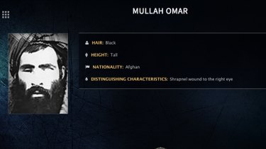 Mullah Omar is seen in a wanted poster issued by the FBI.