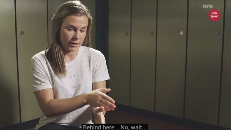 Emilie Haavi attempts to explain the offside rule.