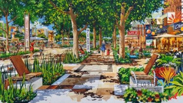 An artist's impression of public space at the new Rockbank housing estate.