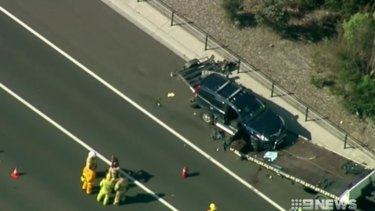 The tow truck driver's arm was severed while stopped in the emergency lane of Peninsula Link.