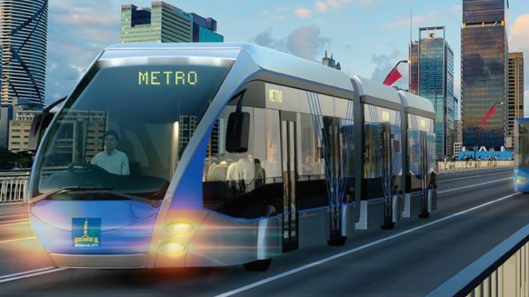 Artist's impression of a Brisbane Metro bi-articulated bus crossing the Victoria Bridge.