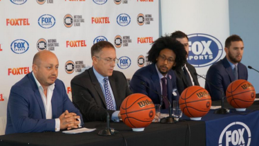 New deal: Larry Kestelman, Patrick Delany, Josh Childress, Nate Tomlinson and Adam Gibson.