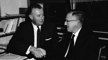 Leader of the Labor Party Arthur Calwell, left, with his new deputy, Gough Whitlam in 1960.