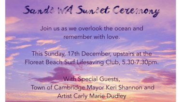 Sands WA's sunset ceremony will be held on Sunday at Floreat Beach.