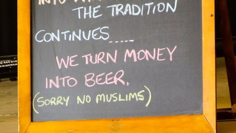 "A Longreach restaurant placed a sign reading ""Sorry No Muslims"" outside its front doors."