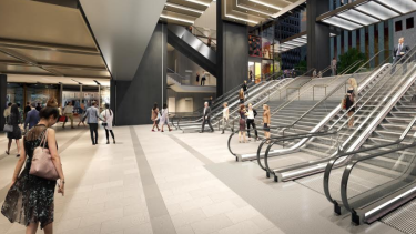 A visualisation of the escalators at a redeveloped Wynyard station concourse.
