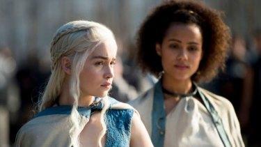 Illegal downloaders' favourite ... Daenerys Targaryen  (Emilia Clarke) and Missandei (Nathalie Emmanuel) in Game of Thrones.