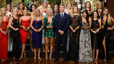 Last year's Bachelor Richie Strahan with contestants.