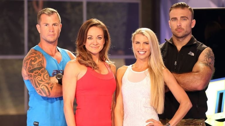 Steve Willis on the set of The Biggest Loser with his Channel 10 co-stars.
