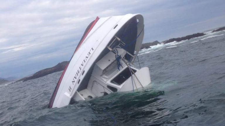 The whale watching vessel, the MV Leviathan, sinking off the coast of Tofino, BC, Canada.