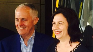 Prime Minister Malcolm Turnbull and Queensland Premier Annastacia Palaszczuk were all smiles during his trip to the Gold Coast but Ms Palaszczuk is not happy with his M1 offer.