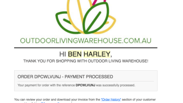 One of the confirmation emails Ben Harley received after paying for a Weber barbecue on Outdoor Living Warehouse, a scam site.