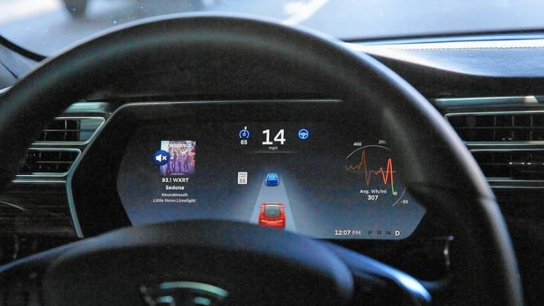 The Tesla Model S P90D dashboard with autopilot function.