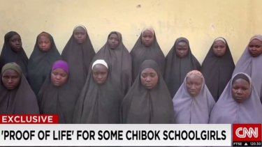 Fifteen girls appear in this video broadcast by CNN and believed to have been made in December to prove the girls are well.