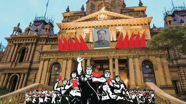 An image of Sydney Town Hall mocked up by those opposed to the Mao commemoration event.