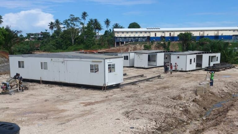 Some of the new accommodation to which asylum seekers on Manus Island moved on Friday.