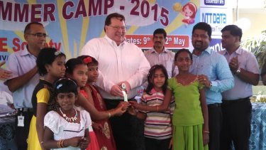 Children at the Desire Society's home for HIV/AIDS orphans in India with US Consul General in Hyderabad Michael Mullins