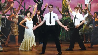 The Book of Mormon will open in Sydney in February 2018. The original Australian company, pictured, included Zahra Newman, Ryan Bondy and A.J. Holmes.