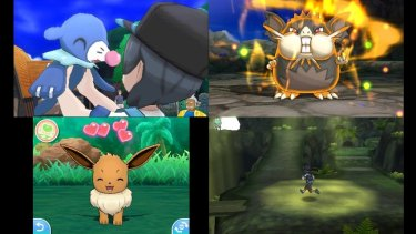 Clockwise from top left: Meeting new water Pokemon Popplio; a powerful Totem version of Alolan Raticate; exploring a forest; petting an Eevee in Pokemon Refresh mode.