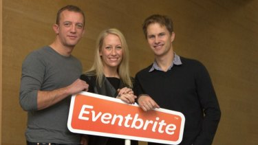 From left, Eventbrite co-founders Renaud Visage, Julia Hartz and Kevin Hartz, following customers to Australia.
