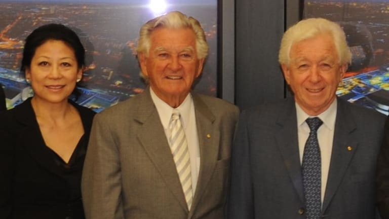 A lawyer for Sheri Yan (left), seen with former prime minister Bob Hawke and businessman Frank Lowy, told a court she had built ties with many sophisticated people.