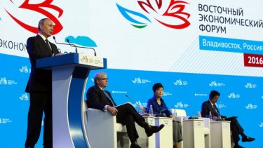 Kevin Rudd listens as Russian President Vladimir Putin speaks in Vladivostok. Next to Mr Rudd sits South Korean President Park Geun-hye.and Japanese Prime Minister Shinzo Abe.