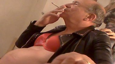 Image reportedly of Lord Sewel in a bra and leather jacket published by British media outlet <i>The Sun</i>.