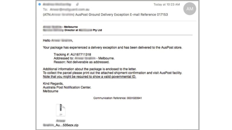 The AusPost parcel scam containing Locky.