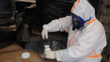 The Campbellfield drums were filled with mercury, contaminated powders, leaking batteries and suspected X-ray machine parts.