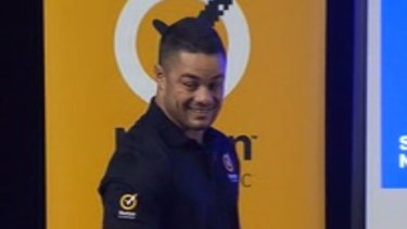 NRL superstar Jarryd Hayne has been caught in an embarrassing pornography gaffe while presenting an online safety talk at a Gold Coast high school.