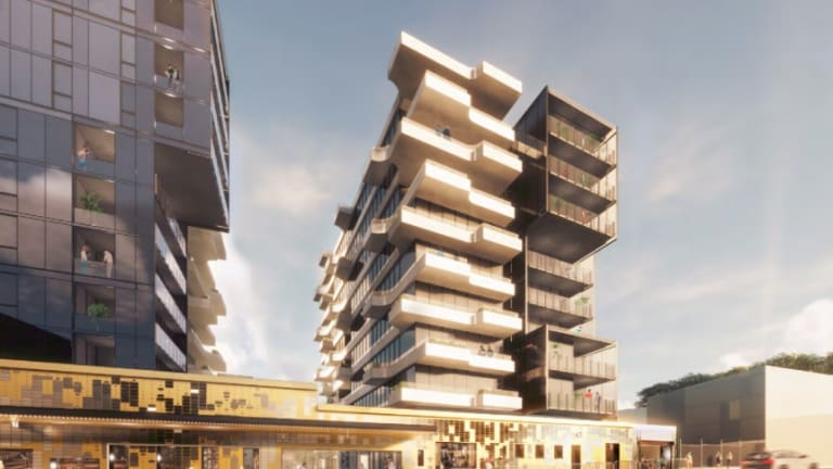 Artist's impression of apartment complex proposed for the site.