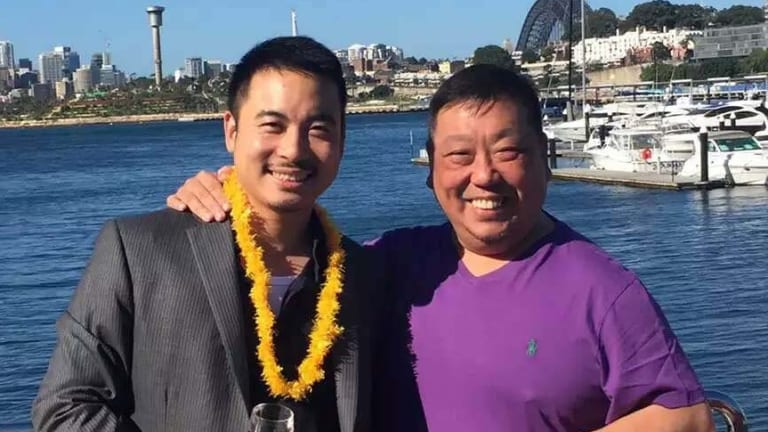 Simon Zhou, left, with NSW Labor MP Ernest Wong.