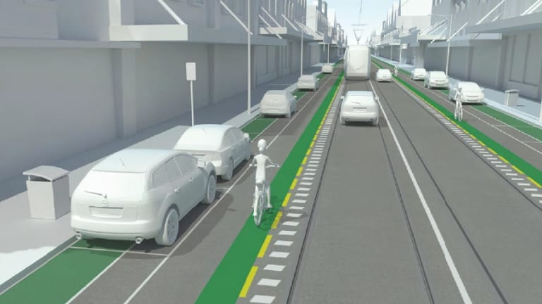 Artist impression of proposed Sydney Road bicycle lane.