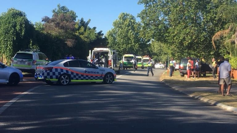 The street where the teenagers were hit by a vehicle was cordoned off on Thursday.