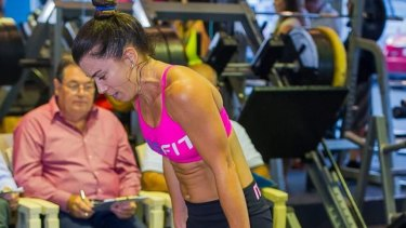 Kate Beeley during her hour-long burpee battle to set a Guinness World Record.