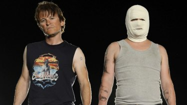Black comedy about the Cronulla riots ... Damon Herriman, left, and Justin Rosniak in <i>Down Under</i>.