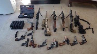 Black market guns seized from a home in Western Australia.
