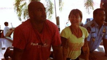 Myuran Sukumaran participating in a yoga class at Kerobokan jail with teacher Denise Payne.