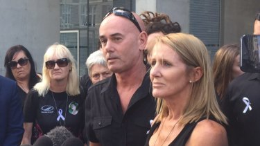 Natalie Hinton speaks to media outside court after Patea was sentenced to life in prison