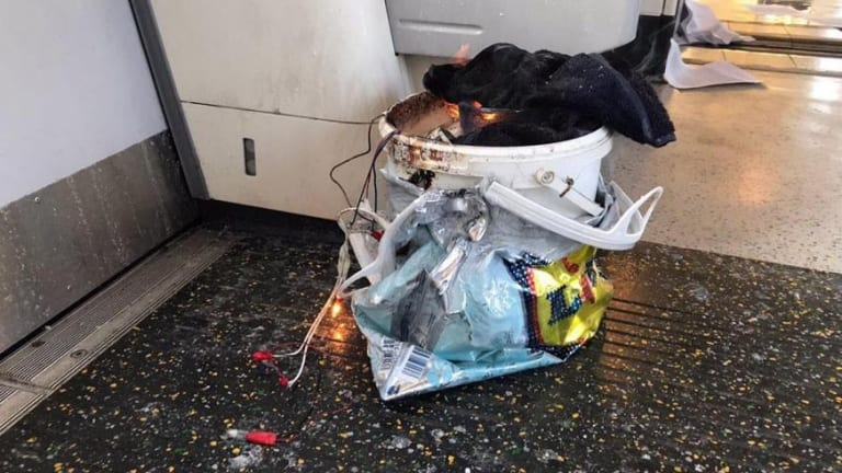 The home-made bomb went off during the morning rush hour on the packed train.