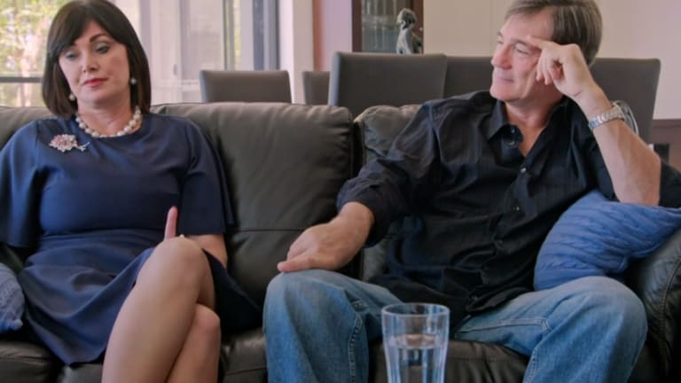 Lisa and David Oldfield during a tense marriage counselling session, which was broadcast on The Real Housewives Of Sydney.